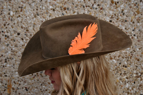 Small Neon Orange Glitter Hat Feather