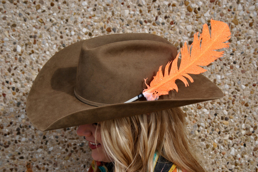 Large Neon Orange Glitter Hat Feather