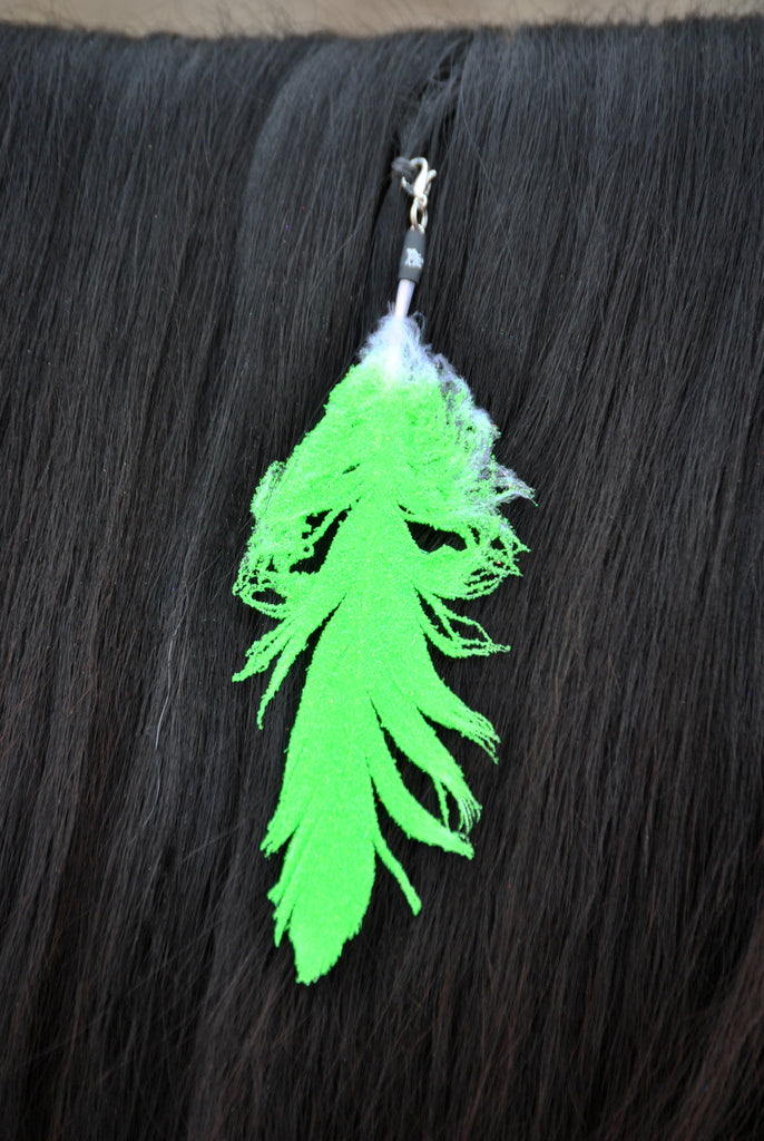 Small Neon Lime Green Glitter Clip On Feather