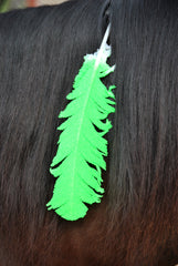 Large Neon Lime Green Horse Feather