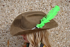 Large Neon Green Glitter Hat Feather