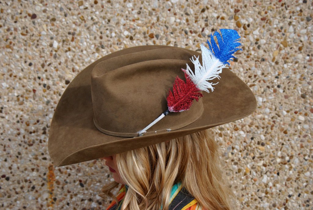 Large Red/White/Blue Glitter Hat Feather