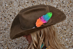 Small Neon Glitter Hat Feathers