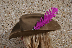 Large Pink Glitter Hat Feather