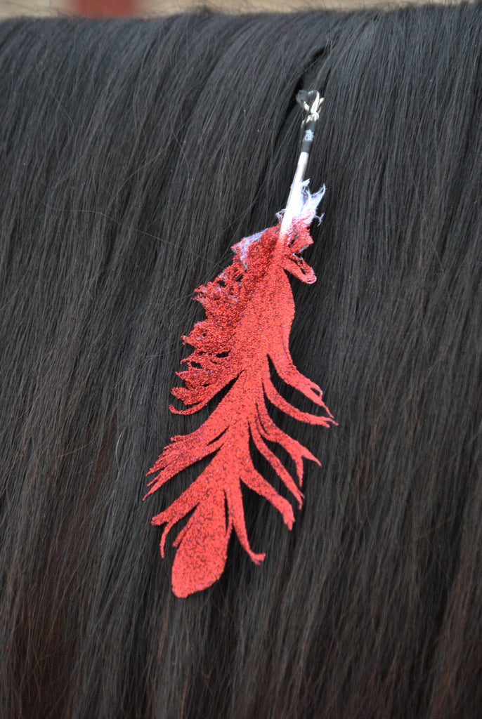Small Red Glitter Clip On Feather