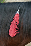 Large Red Glitter Horse Feather