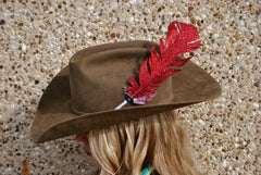 Large Red Glitter Hat Feather