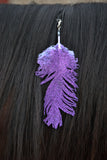 Small Purple Glitter Clip On Feather