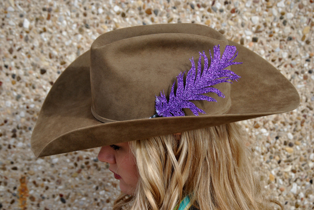 Small Purple Glitter Hat Feather