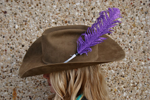 Large Purple Glitter Hat Feather