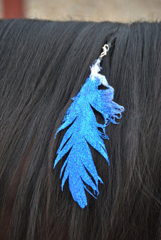 Small Blue Glitter Clip On Feather