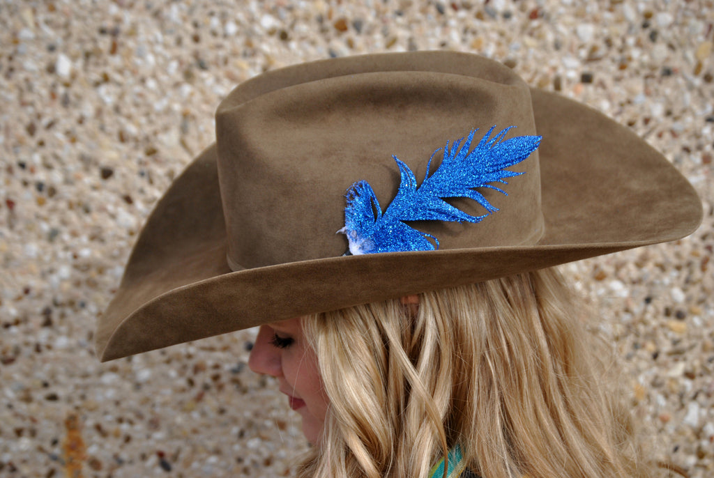 Small Blue Glitter Hat Feather