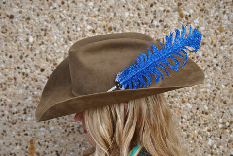 Large Blue Glitter Hat Feathers