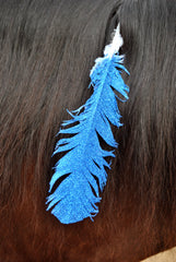 Large Blue Glitter Horse Feather