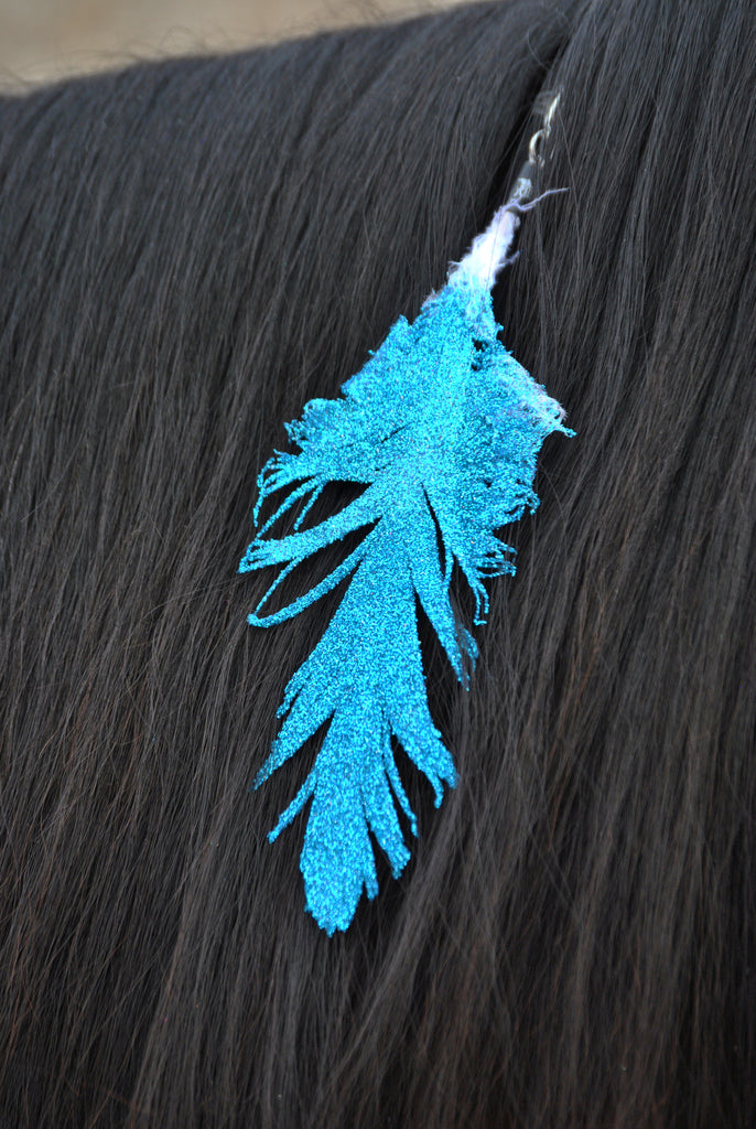 Small Turquoise Glitter Clip On Feather