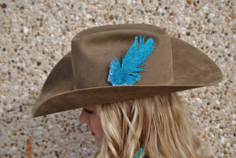 Small Turquoise Glitter Hat Feather