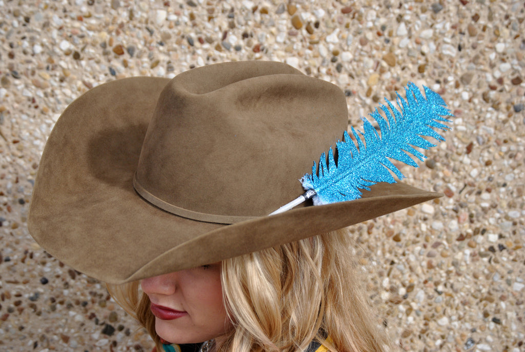 Large Turquoise Glitter Hat Feather