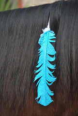 Large Turquoise Glitter Horse Feather