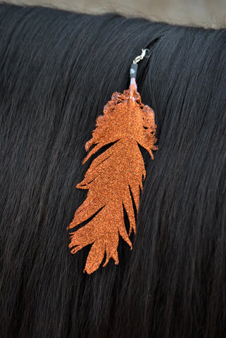 Small Orange Glitter Clip On Feather