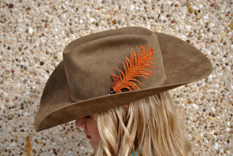 Small Orange Glitter Hat Feather