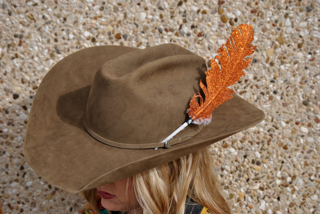 Large Orange Glitter Hat Feather