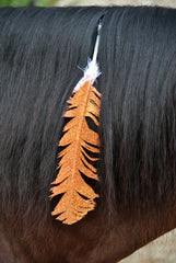 Large Orange Glitter Feather