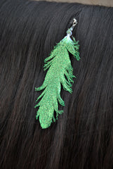 Small Green Glitter Clip On Feather