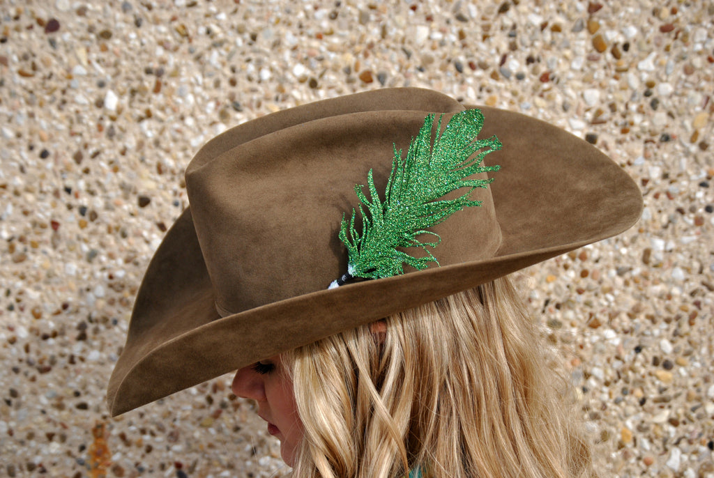 Small Green Glitter Hat Feather