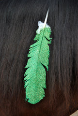 Large Green Glitter Horse Feather