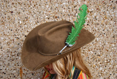 Large Green Glitter Hat Feather