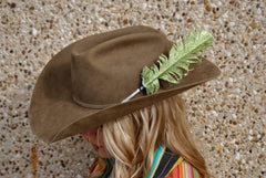 Large Lime Green Glitter Hat Feather