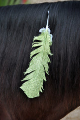 Large Lime Green Glitter Horse Feather