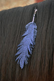 Small Black Glitter Clip On Feather