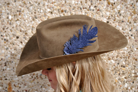 Small Black Glitter Hat Feather