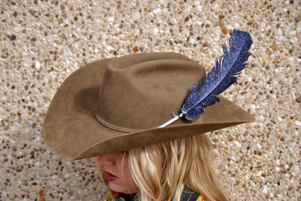 Large Black Glitter Hat Feather