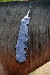Large Black Glitter Horse Feather