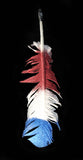 Large Red White Blue Glitter Feather