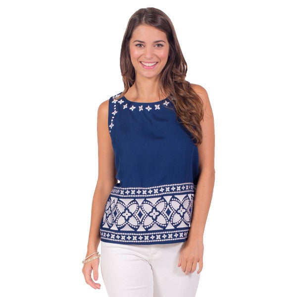 Bethany Top White Emb