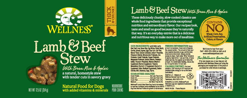 Wellness Natural Lamb and Beef Stew with Brown Rice and Apples Wet Canned Dog Food