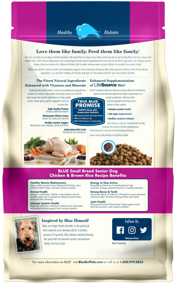 Blue Buffalo Life Protection Natural Chicken & Brown Rice Recipe Small Breed Senior Dry Dog Food