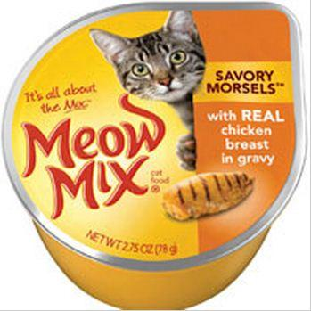 Meow Mix Savory Morsels with Chicken in Gravy Cat Food Cups