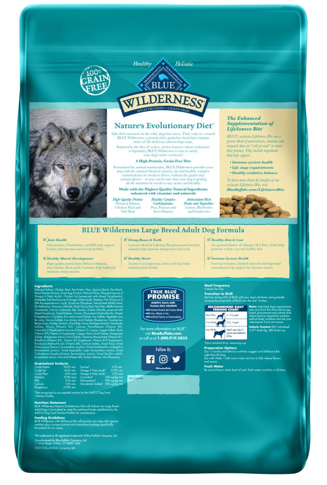 Blue Buffalo Wilderness High Protein Salmon Recipe Large Breed Dry Dog Food