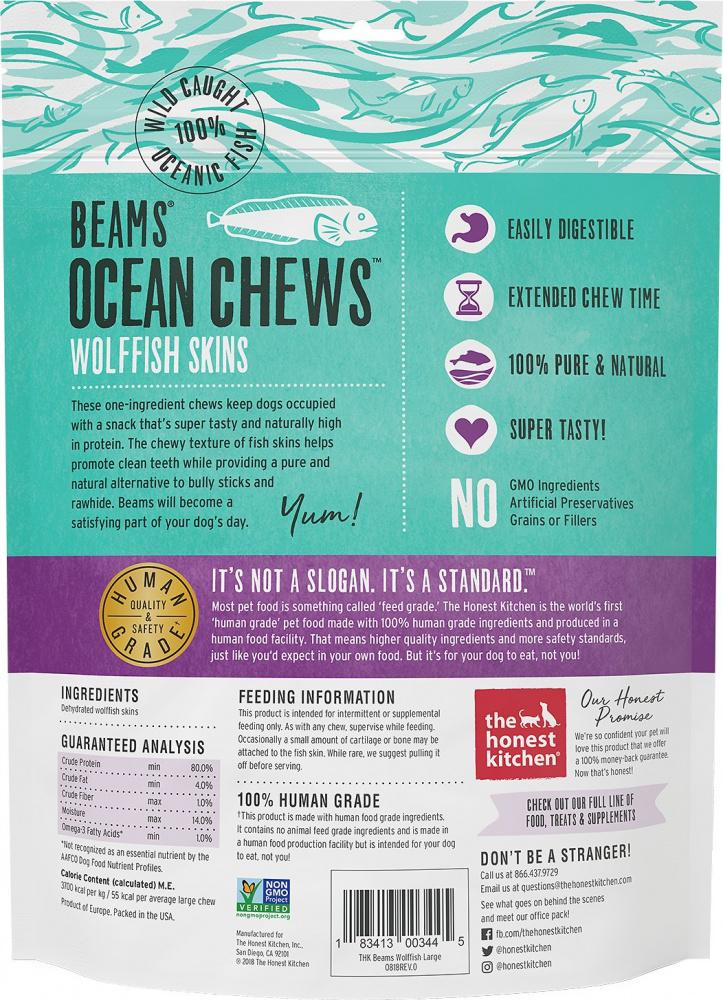 The Honest Kitchen BEAMS Grain Free Large Ocean Chews Wolffish Skin Dog Treats