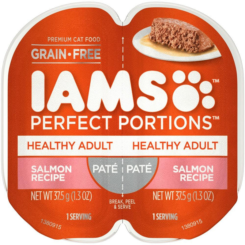 Iams Perfect Portions Healthy Adult Salmon Pate Wet Cat Food Tray