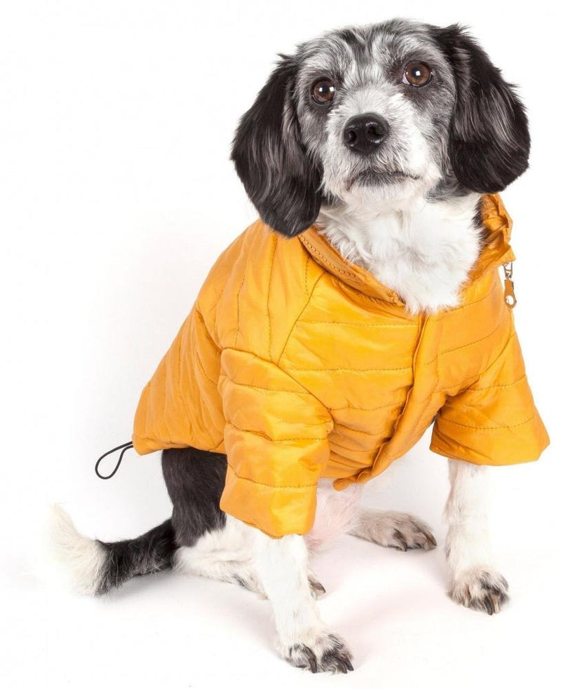 Pet Life Adjustable Yellow Sporty Avalanche Dog Coat with Pop Out Zippered Hood