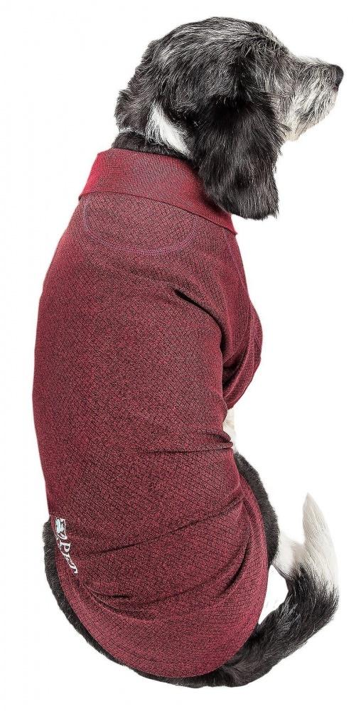 Pet Life Active Relax Stretch Fur Flexed Burgundy Polo Dog T-Shirt