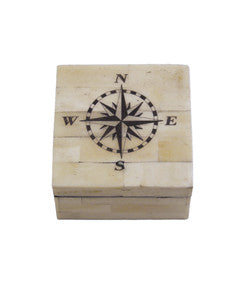 Compass Rose White Bone Box