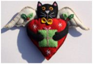 Christmas Cat Felt Heart Ornament
