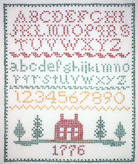 Death by thread colonial flag sampler cross stitch pattern.