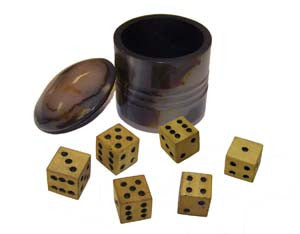 Horn Cup with Six Wooden Dices